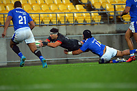 Maori's Jonah Lowe dives for the corner flag during the international rugby match between Manu Samoa and the Maori All Blacks at Sky Stadium in Wellington, New Zealand on Saturday, 26 June 2021. Photo: Dave Lintott / lintottphoto.co.nz