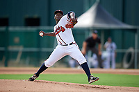 GCL Braves starting pitcher Luis De Jesus (23) delivers a pitch during the first game of a doubleheader against the GCL Yankees West on July 30, 2018 at Champion Stadium in Kissimmee, Florida.  GCL Yankees West defeated GCL Braves 7-5.  (Mike Janes/Four Seam Images)