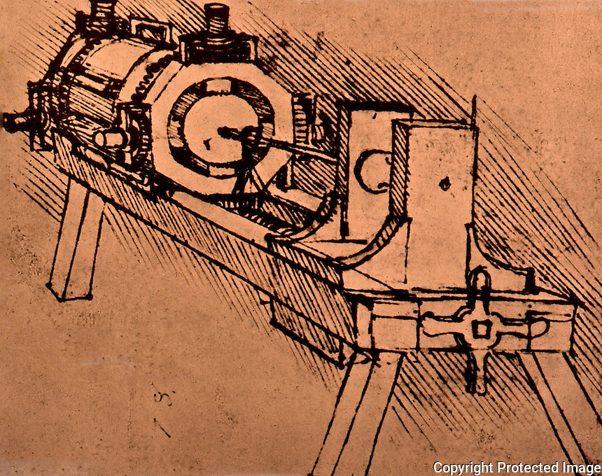 Visual Arts:  Leonardo Drawing--Boring machine with self-centering device.  Photo '84.