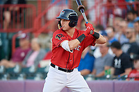 Erie SeaWolves Kody Clemens (8) on deck during an Eastern League game against the Richmond Flying Squirrels on August 28, 2019 at UPMC Park in Erie, Pennsylvania.  Richmond defeated Erie 6-4 in the first game of a doubleheader.  (Mike Janes/Four Seam Images)
