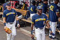 Michigan Wolverines outfielder Christian Bullock (5) in the dugout before Game 6 of the NCAA College World Series against the Florida State Seminoles on June 17, 2019 at TD Ameritrade Park in Omaha, Nebraska. Michigan defeated Florida State 2-0. (Andrew Woolley/Four Seam Images)