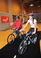 Mana MP Kris Faafoi and Sarah Walker. Move60 promotion at Te Rauparaha Arena, Porirua, Wellington, New Zealand on Saturday, 5 April 2014. Photo: Dave Lintott / lintottphoto.co.nz