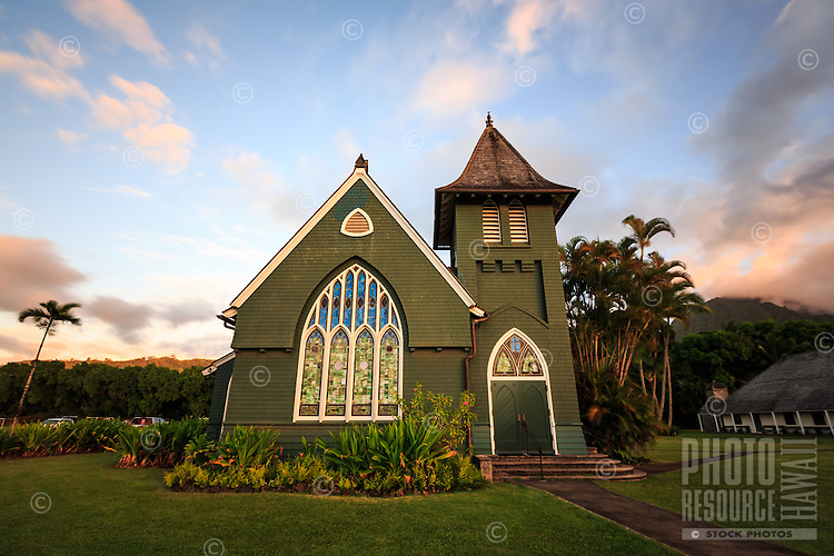 Wai`oli Hui`ia Church at sunset; it is the oldest church on Kaua'i and a historical landmark.