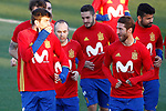 Spain's Gerard Pique, Andres Iniesta and Sergio Ramos during training session. March 20,2017.(ALTERPHOTOS/Acero)
