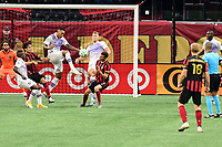 ATLANTA, GA - AUGUST 29: Antonio Carlos #25 of Orlando City clears the ball with a high kick during a game between Orlando City SC and Atlanta United FC at Marecedes-Benz Stadium on August 29, 2020 in Atlanta, Georgia.