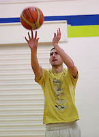Pictured: Basketball at the sports hall. Friday 26 September 2014<br /> Re: Cardiff and Vale College, Trowbridge Campus, Cardiff, south Wales.