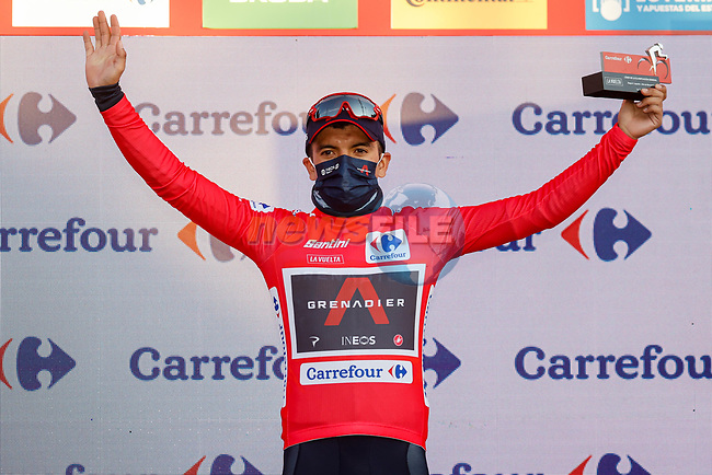 Race leader Richard Carapaz (ECU) Ineos Grenadiers retains the Red Jersey at the end of Stage 8 of the Vuelta Espana 2020 running 160km from Logroño to Alto de Moncalvillo, Spain. 28th October 2020.   <br /> Picture: Luis Angel Gomez/PhotoSportGomez   Cyclefile<br /> <br /> All photos usage must carry mandatory copyright credit (© Cyclefile   Luis Angel Gomez/PhotoSportGomez)