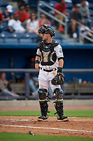 Biloxi Shuckers catcher Max McDowell (4) during a Southern League game against the Montgomery Biscuits on May 8, 2019 at MGM Park in Biloxi, Mississippi.  Biloxi defeated Montgomery 4-2.  (Mike Janes/Four Seam Images)