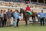 DEL MAR, CA  AUGUST 10:  #5 Collusion Illusion, ridden by Joseph Talamo, and the connections in the winners circle after winning the Best Pal Stakes (Grade ll) on August 10, 2019 at Del Mar Thoroughbred Club in Del Mar, CA. (Photo by Casey Phillips/Eclipse Sportswire/CSM)