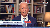 Pictured in this screen capture: Vice President Joe Biden addresses the urgent need for a full COVID-19 economic response during a live stream on April 13, 2020. (Photo by: JoeBiden.com via ON-SITEFOTOS)