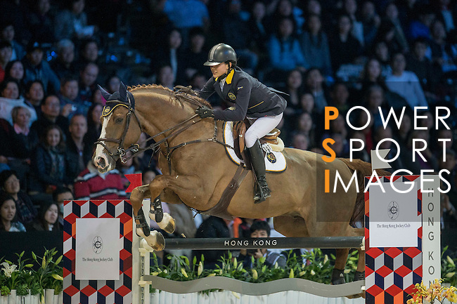 Jacqueline Lai of Hong Kong riding Basta during the Hong Kong Jockey Club Trophy competition, part of the Longines Masters of Hong Kong on 10 February 2017 at the Asia World Expo in Hong Kong, China. Photo by Juan Serrano / Power Sport Images