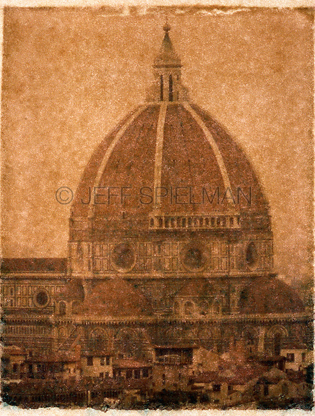 Dome of Santa Maria Del Fiore, Il Duomo, Florence, Italy - Polaroid Transfer