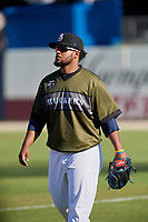 Biloxi Shuckers pitcher Angel Ventura (38) after a game against the Jacksonville Jumbo Shrimp on May 6, 2018 at MGM Park in Biloxi, Mississippi.  Biloxi defeated Jacksonville 6-5.  (Mike Janes/Four Seam Images)