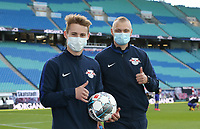 16th May 2020, Red Bull Arena, Leipzig, Germany; Bundesliga football, Leipzig versus FC Freiburg; Ball boys with masks posing after the match