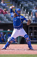 Jack Murphy (50) of the Oklahoma City Dodgers throws to second base during a game against the Iowa Cubs at Chickasaw Bricktown Ballpark on April 9, 2016 in Oklahoma City, Oklahoma.  Oklahoma City defeated Iowa 12-1 (William Purnell/Four Seam Images)