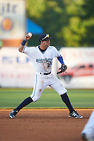 West Michigan Whitecaps shortstop Leonardo Laffita (29) throws to first during a game against the Burlington Bees on July 25, 2016 at Fifth Third Ballpark in Grand Rapids, Michigan.  West Michigan defeated Burlington 4-3.  (Mike Janes/Four Seam Images)