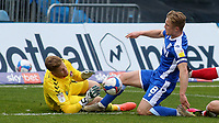 Charlton goalkeeper, Ben Amos saves at the feet of Gillingham's Kyle Dempsey during Gillingham vs Charlton Athletic, Sky Bet EFL League 1 Football at the MEMS Priestfield Stadium on 21st November 2020