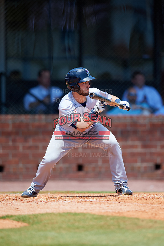 Pensacola Blue Wahoos catcher Joe Hudson (8) squares around to bunt during a game against the Mobile BayBears on April 26, 2017 at Hank Aaron Stadium in Mobile, Alabama.  Pensacola defeated Mobile 5-3.  (Mike Janes/Four Seam Images)