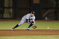 Salt River Rafters second baseman Travis Blankenhorn (5), of the Minnesota Twins organization, fields a ground ball during an Arizona Fall League game against the Scottsdale Scorpions at Scottsdale Stadium on October 12, 2018 in Scottsdale, Arizona. Scottsdale defeated Salt River 6-2. (Zachary Lucy/Four Seam Images)
