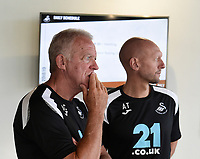 (L-R) Coaches Alan Curtis and Adrian Tucker during the Swansea City Players Return to Pre-Season Training at The Fairwood Training Ground, Wales, UK. Monday 02 July 2018