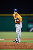 St. Lucie Mets relief pitcher Stephen Villines (32) looks in for the sign during a game against the Clearwater Threshers on August 11, 2018 at Spectrum Field in Clearwater, Florida.  St. Lucie defeated Clearwater 11-0.  (Mike Janes/Four Seam Images)