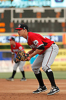 Carolina Mudcats first baseman Joey Meneses (44) playing his position during a game against the Myrtle Beach Pelicans at Ticketreturn.com Field at Pelicans Ballpark on June 4, 2015 in Myrtle Beach, South Carolina. Carolina defeated Myrtle Beach 3-2. (Robert Gurganus/Four Seam Images)
