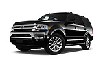 Stock pictures of low aggressive front three quarter view of 2017 Ford Expedition Limited 5 Door SUV Low Aggressive