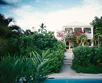 The stunning setting of India Hicks' house in the Bahamas photographed from the pool terrace in the rear garden