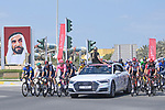 The start of Stage 7 of the 2021 UAE Tour running 165km from Yas Island to Abu Dhabi Breakwater, Abu Dhabi, UAE. 27th February 2021.<br /> Picture: LaPresse/Fabio Ferrari   Cyclefile<br /> <br /> All photos usage must carry mandatory copyright credit (© Cyclefile   LaPresse/Fabio Ferrari)