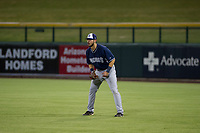 AZL Padres right fielder Mason House (40) on defense against the AZL Cubs on August 28, 2017 at Sloan Park in Mesa, Arizona. AZL Cubs defeated the AZL Padres 2 9-4. (Zachary Lucy/Four Seam Images)