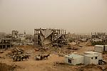 shejaiya neighborhood during a sandstorm on february 11, 2015 after the last year war between israel and hamas in gaza Photo by Osama Baba