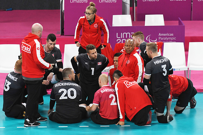 Lima 2019 - Sitting Volleyball // Volleyball assis.<br /> Canada competes in men's Sitting Volleyball // Canada participe au volleyball assis masculin. 24/08/2019.Caption EN // Caption FR. 25/08/2019.