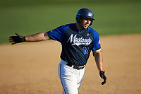 Steven D'Eusanio (16) (Youngstown State) of the Martinsville Mustangs rounds the bases after hitting a home run against the High Point-Thomasville HiToms at Finch Field on July 26, 2020 in Thomasville, NC.  The HiToms defeated the Mustangs 8-5. (Brian Westerholt/Four Seam Images)