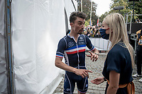 Julian Alaphilippe's (FRA/Deceuninck - Quick Step) first emotions post-race with his parther Marion Rousse backstage (at the podium ceremony)<br /> <br /> Elite Men World Championships - Road Race<br /> from Antwerp to Leuven (268.3km)<br /> <br /> UCI Road World Championships - Flanders Belgium 2021<br /> <br /> ©kramon