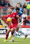 St Johnstone v Aberdeen…15.09.18…   McDiarmid Park     SPFL<br />Stevie May battles with Joe Shaughnessy<br />Picture by Graeme Hart. <br />Copyright Perthshire Picture Agency<br />Tel: 01738 623350  Mobile: 07990 594431