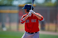 Boston Red Sox Samuel Miranda (41) bats during a Minor League Spring Training game against the Tampa Bay Rays on March 25, 2019 at the Charlotte County Sports Complex in Port Charlotte, Florida.  (Mike Janes/Four Seam Images)