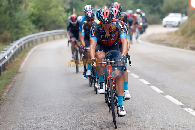 Bahrain Victorious lead the main bunch during Stage 18 of La Vuelta d'Espana 2021, running 162.6km from Salas to Alto del Gamoniteiru, Spain. 2nd September 2021.    <br /> Picture: Luis Angel Gomez/Photogomezsport | Cyclefile<br /> <br /> All photos usage must carry mandatory copyright credit (© Cyclefile | Luis Angel Gomez/Photogomezsport)