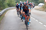 Bahrain Victorious lead the main bunch during Stage 18 of La Vuelta d'Espana 2021, running 162.6km from Salas to Alto del Gamoniteiru, Spain. 2nd September 2021.    <br /> Picture: Luis Angel Gomez/Photogomezsport   Cyclefile<br /> <br /> All photos usage must carry mandatory copyright credit (© Cyclefile   Luis Angel Gomez/Photogomezsport)