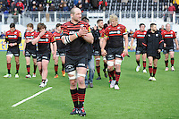 20130303 Copyright onEdition 2013©.Free for editorial use image, please credit: onEdition..Steve Borthwick of Saracens leads his team on a lap of honour after winning the Premiership Rugby match between Saracens and London Welsh at Allianz Park on Sunday 3rd March 2013 (Photo by Rob Munro)..For press contacts contact: Sam Feasey at brandRapport on M: +44 (0)7717 757114 E: SFeasey@brand-rapport.com..If you require a higher resolution image or you have any other onEdition photographic enquiries, please contact onEdition on 0845 900 2 900 or email info@onEdition.com.This image is copyright onEdition 2013©..This image has been supplied by onEdition and must be credited onEdition. The author is asserting his full Moral rights in relation to the publication of this image. Rights for onward transmission of any image or file is not granted or implied. Changing or deleting Copyright information is illegal as specified in the Copyright, Design and Patents Act 1988. If you are in any way unsure of your right to publish this image please contact onEdition on 0845 900 2 900 or email info@onEdition.com