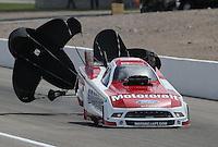 Apr. 6, 2013; Las Vegas, NV, USA: NHRA funny car driver Bob Tasca III during qualifying for the Summitracing.com Nationals at the Strip at Las Vegas Motor Speedway. Mandatory Credit: Mark J. Rebilas-