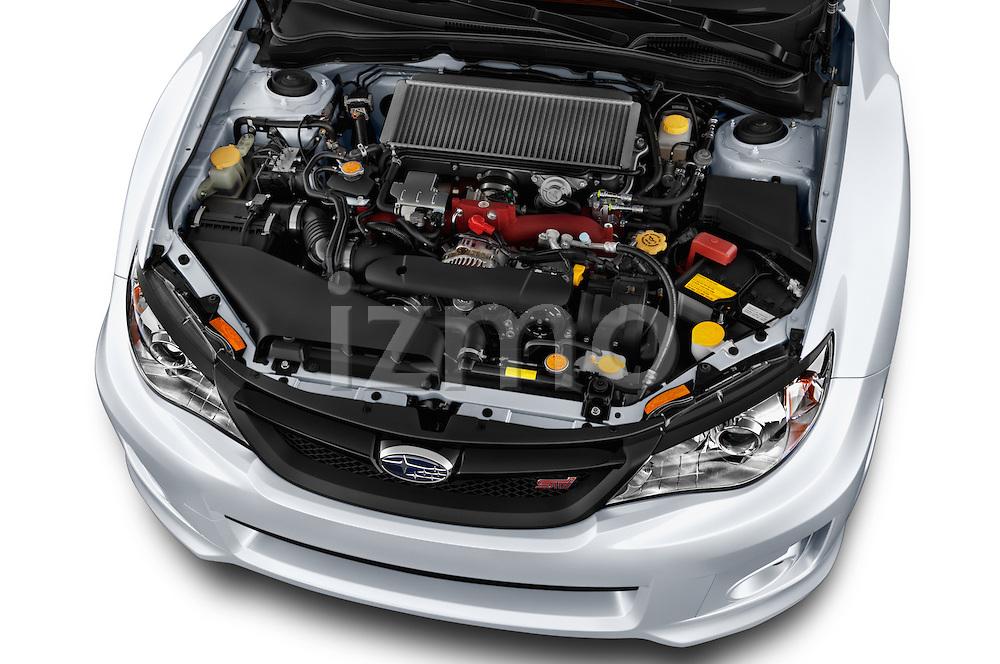 High angle engine detail of a  2013 Subaru WRX STI Sedan2013 Subaru WRX STI Sedan