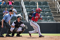 Daniel Johnson (7) of the Hagerstown Suns follows through on his swing against the Kannapolis Intimidators at Kannapolis Intimidators Stadium on July 9, 2017 in Kannapolis, North Carolina.  The Intimidators defeated the Suns 3-2 in game one of a double-header.  (Brian Westerholt/Four Seam Images)