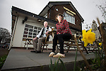"""© Joel Goodman - 07973 332324 . 14/03/2014 . White Horse Pub , Gilda Brook Road , Eccles M30 0DX , UK . Landlady Bernadette """" Babs """" Harvieu (52) (right) and customer of thirty years , Frank Kenny (74) (07706 740908) . Bernadette is unable to renew her contract with Robinsons brewery . Photo credit : Joel Goodman"""