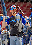 22 June 2019: Toronto Blue Jays second baseman Cavan Biggio awaits his turn in the batting cage prior to a game against the Boston Red Sox at Fenway :Park in Boston, MA. The Blue Jays rallied to defeat the Red Sox 8-7 in the 2nd game of their 3-game series. Mandatory Credit: Ed Wolfstein Photo *** RAW (NEF) Image File Available ***