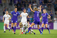 Orlando, FL - Saturday March 24, 2018: Utah Royals Gunnhildur Jonsdottir (23) is knocked over by Orlando Pride midfielder Dani Weatherholt (17) during a regular season National Women's Soccer League (NWSL) match between the Orlando Pride and the Utah Royals FC at Orlando City Stadium. The game ended in a 1-1 draw.