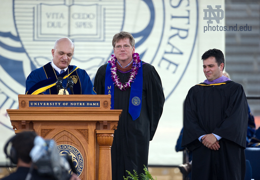 May 22, 2011; Michael Lykoudis recognizes Bob Brandt and Kevin Buccellato for the construction of the Notre Dame podium.  The School of Architecture presented the podium to Fr. Jenkins at the 2011 Commencement ceremony...Photo by Matt Cashore/University of Notre Dame