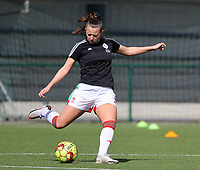 Hannah Eurlings (9) of OHL pictured during the warm up before a female soccer game between Oud Heverlee Leuven and Club Brugge YLA on the 18 th and last matchday before the play offs of the 2020 - 2021 season of Belgian Womens Super League , saturday 27 th of March 2021  in Heverlee , Belgium . PHOTO SPORTPIX.BE | SPP | SEVIL OKTEM