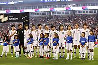 CHARLOTTE, NC - OCTOBER 3: Korea Republic starters Kim Hyeri #20, Kim Minjung #18, Lim Seonjoo #6, Ha Eunhye #2, Kim Hyeyeong #5, Lee Seaeun #17, Ji Soyun #10, Jang Selgi #9, Kang Chaerim #23, Cho So Hyun #8, and Moon Mira #11 during a game between Korea Republic and USWNT at Bank of America Stadium on October 3, 2019 in Charlotte, North Carolina.