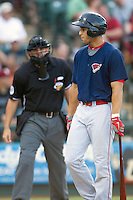 Oklahoma City RedHawks outfielder George Springer (8) disagrees with the umpire after striking out against the Round Rock Express during the Pacific Coast League baseball game on August 25, 2013 at the Dell Diamond in Round Rock, Texas. Round Rock defeated Oklahoma City 9-2. (Andrew Woolley/Four Seam Images)