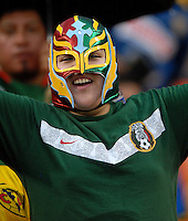 Mexican fan cheering for his team. DC United defeated Club America 1-0 to secure one of the two semifinal berths in SuperLiga group B, at RFK Stadium in Washington DC, Sunday July 29, 2007.